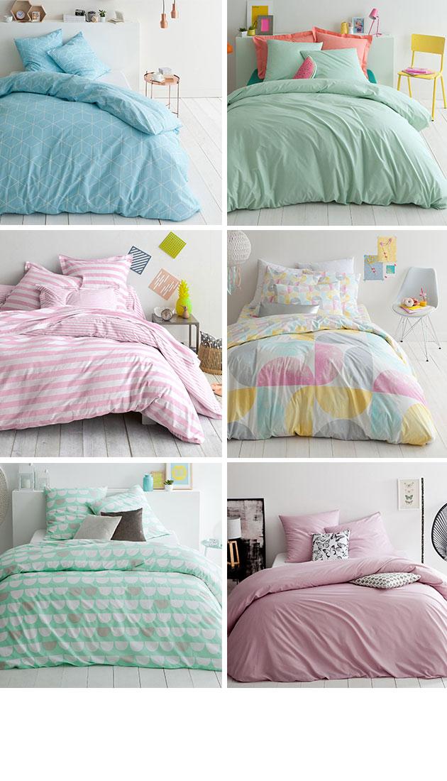 Los tonos pastel aportan el toque romántico a tu cama.