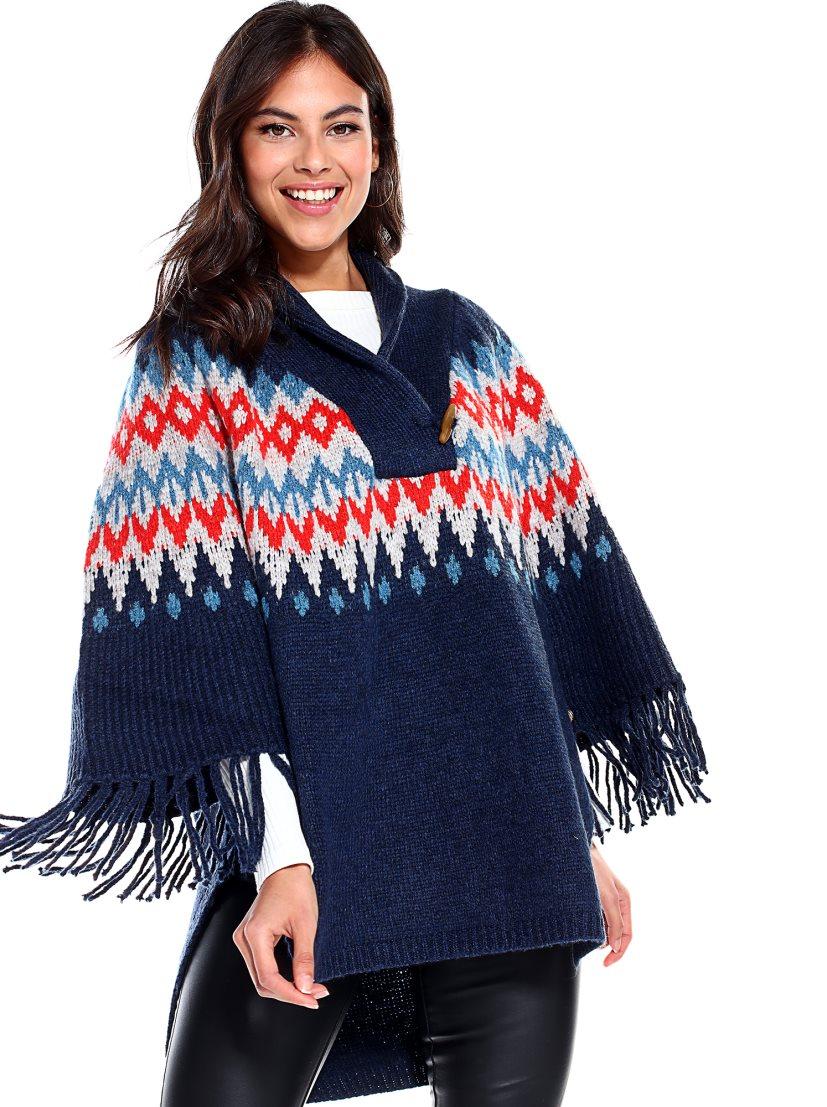 poncho lana azul